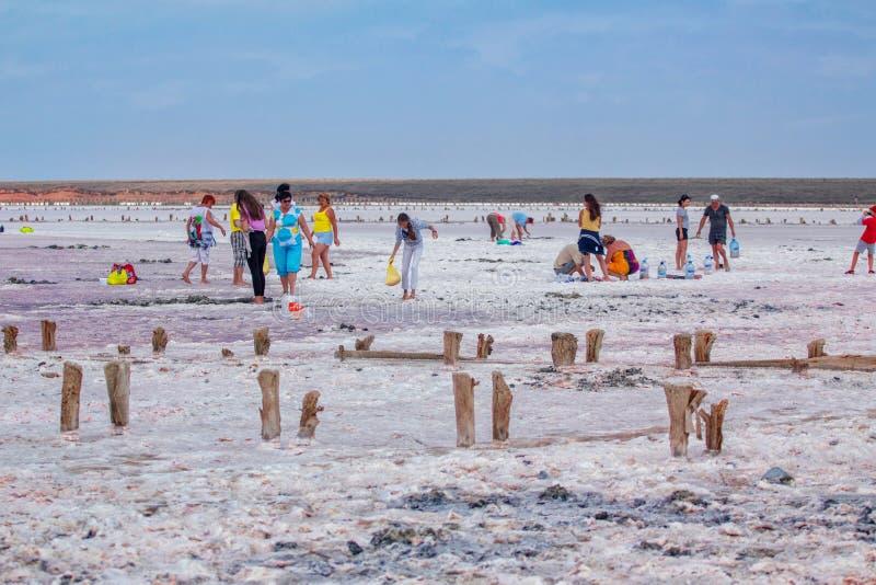 会集盐、盐水和泥的人们 库存照片