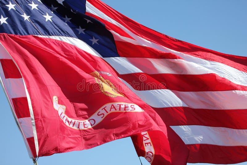 会集退伍军人的美国国旗 免版税库存图片