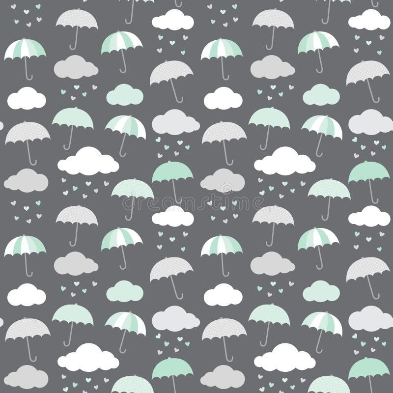 伞、云彩和心脏导航在斯堪的纳维亚样式的样式 可爱宝贝阵雨无缝的背景 皇族释放例证