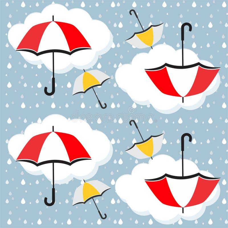 伞、雨下落和云彩无缝的样式-传染媒介 库存例证