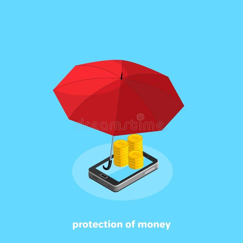 伞作为保护的标志说谎在智能手机屏幕上的金钱的 皇族释放例证