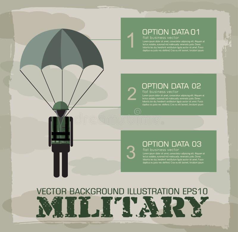 伞兵军事infographics背景 向量例证