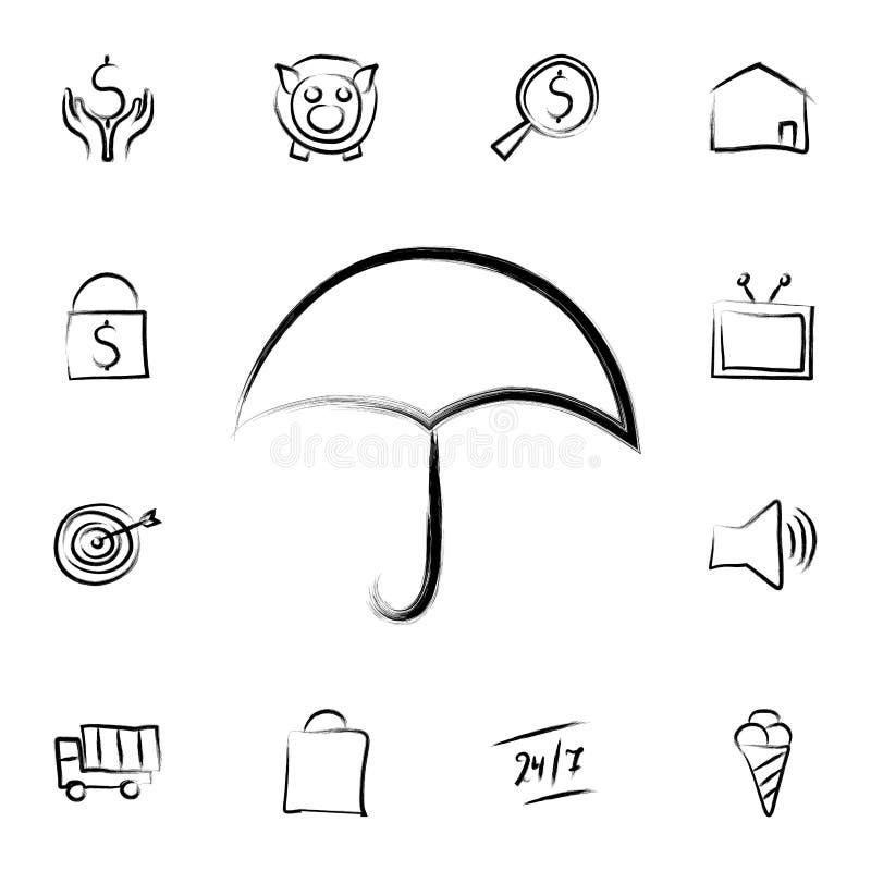 伞剪影样式象 详细的套在剪影样式象的银行业务 优质图形设计 其中一个汇集象为 库存例证