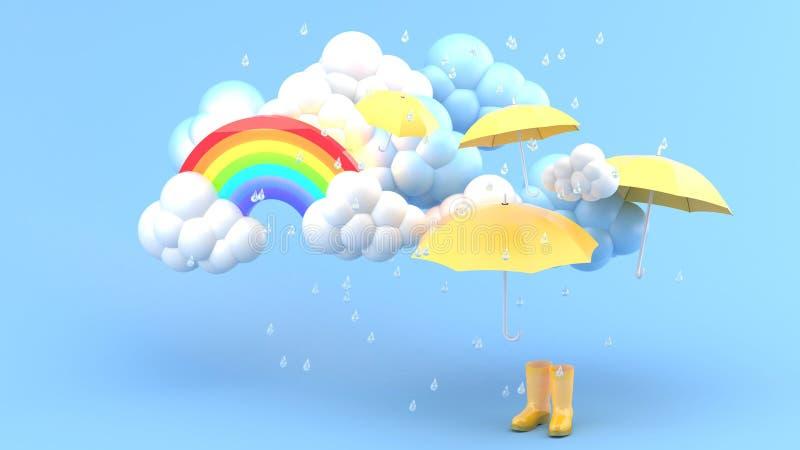 伞和黄色起动在暴雨和彩虹中在一蓝色bachground 向量例证
