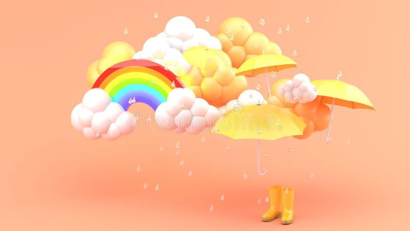 伞和黄色起动在暴雨和彩虹中在橙色bachground 库存图片