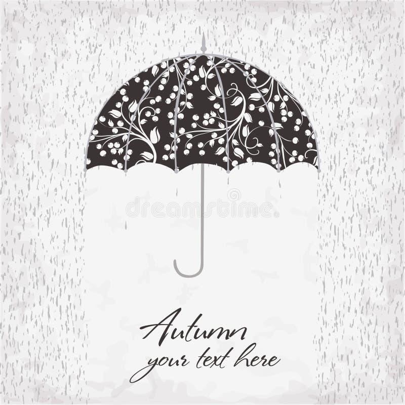 伞的传染媒介例证在雨下的 库存例证