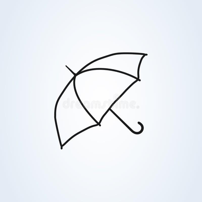 伞象传染媒介平的设计 线艺术在白色背景隔绝的标志伞 库存例证