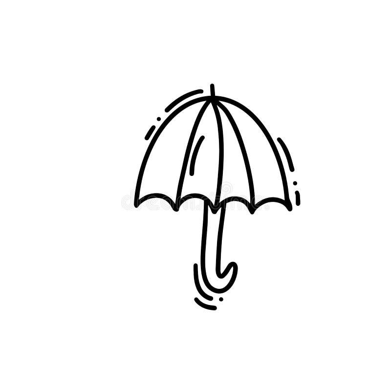 伞象在下雨天乱画的 在白色背景隔绝的手拉的传染媒介乱画商标例证剪影 皇族释放例证