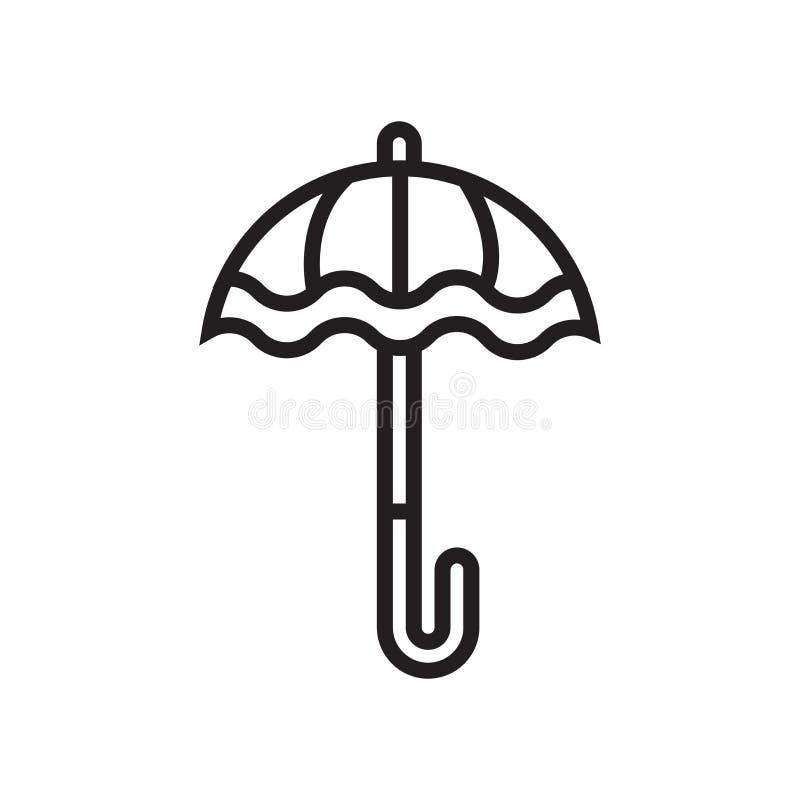 伞象在白色背景和标志隔绝的传染媒介标志,伞商标概念 库存例证