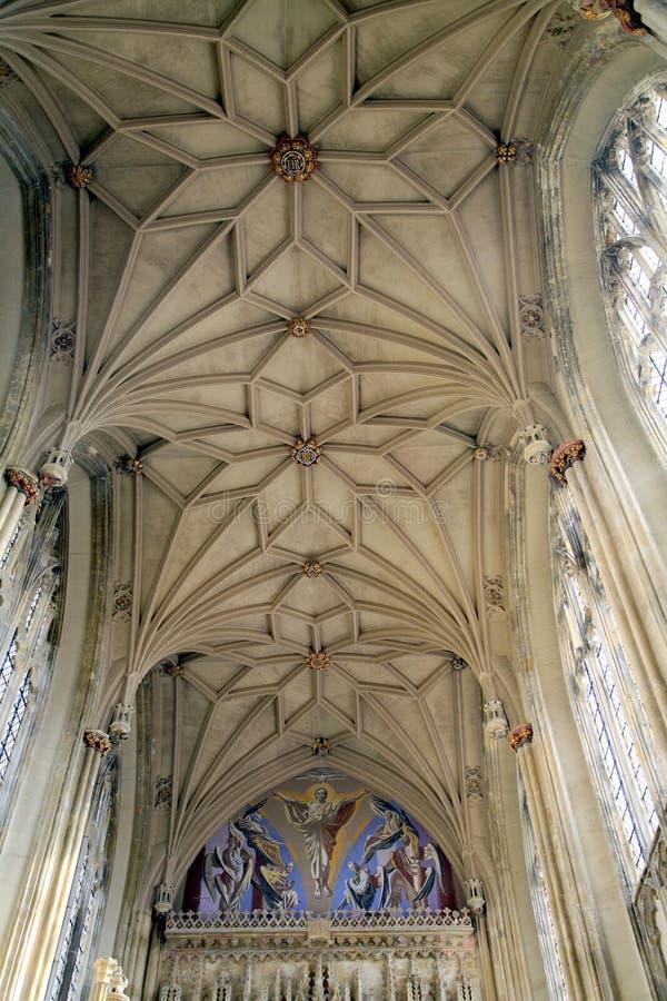 伟大的唱诗班屋顶,小修道院,克赖斯特切奇 免版税库存图片