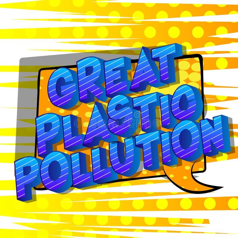 伟大的塑料污染-漫画样式词 向量例证