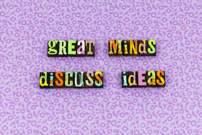 伟大的头脑想法通信成功活版 库存照片