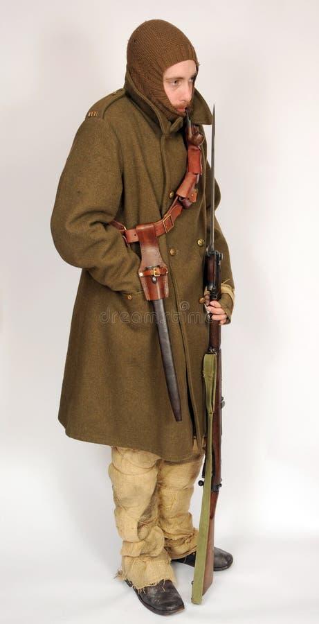 伟大的战争骑兵战士堑壕战WW1 免版税库存照片