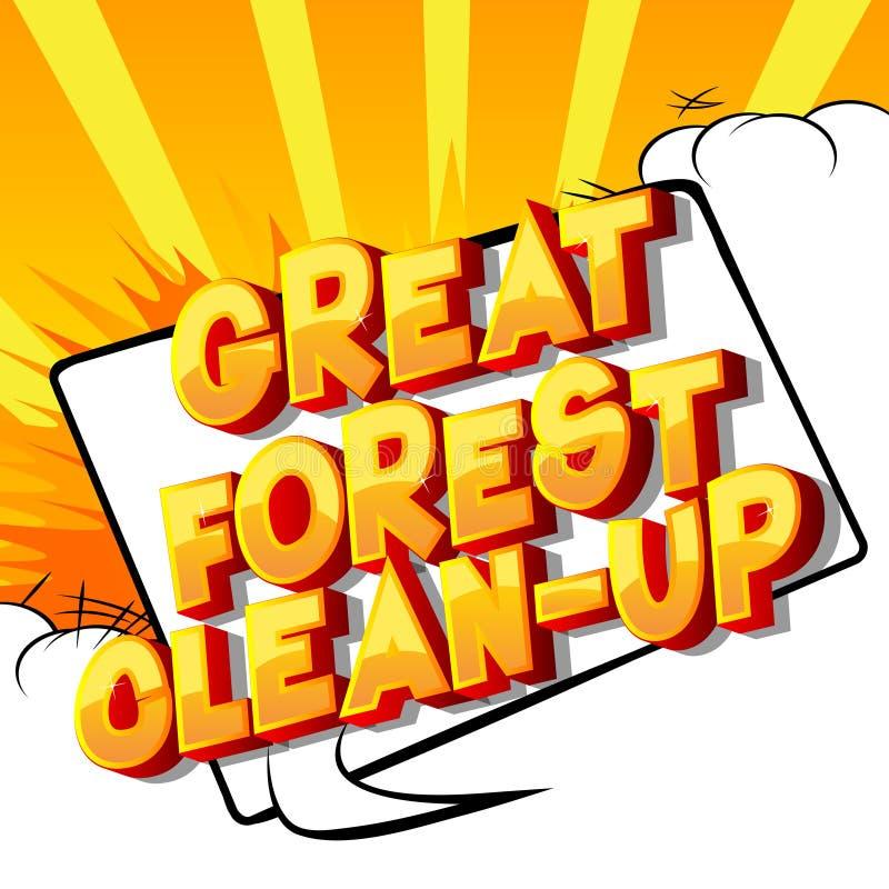 伟大的森林清洁-漫画样式词 库存例证