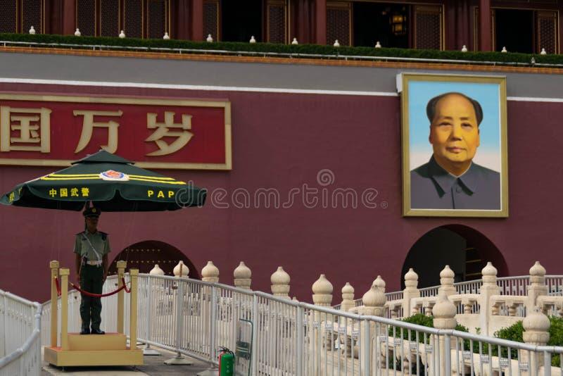 伟大的舵手` s画象在天安门广场 库存照片