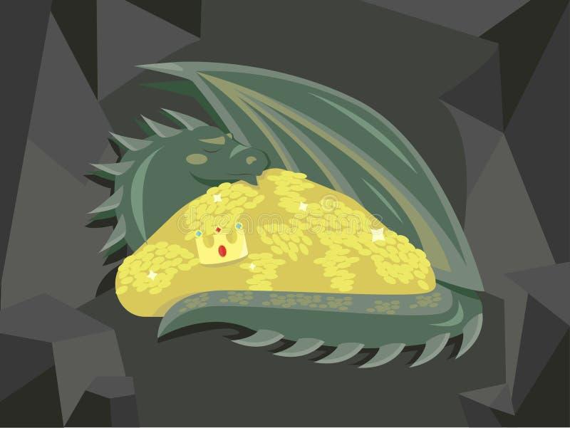 伟大的龙和金子 免版税库存照片