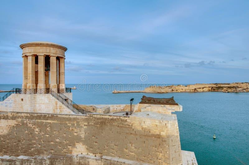 伟大的围困纪念品在瓦莱塔,马耳他 库存图片