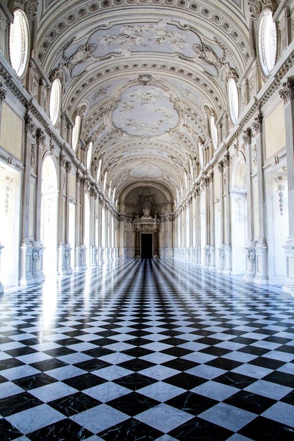 伟大的画廊,在Venaria王宫 库存照片