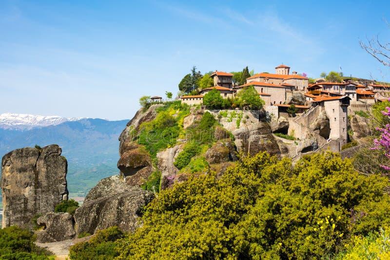 伟大的Meteoro修道院在迈泰奥拉晃动, Kalambaka,特里卡拉,希腊 库存图片