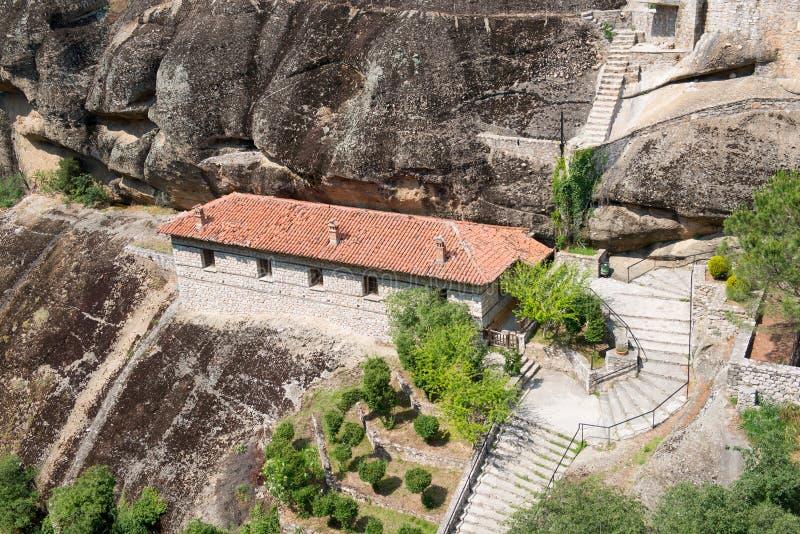 伟大的Meteoron圣洁修道院的细节  图库摄影