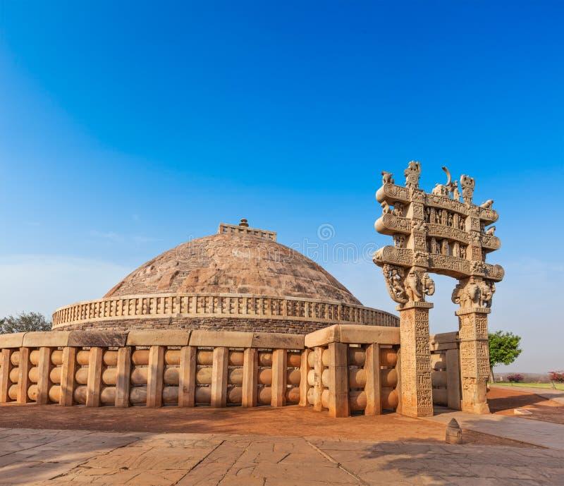 伟大的Stupa。桑吉,中央邦,印度 库存图片