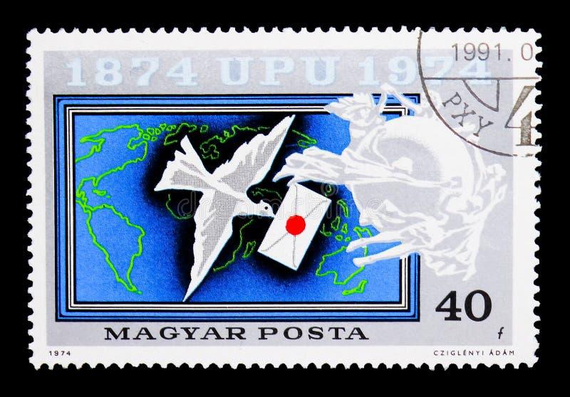 传信鸽, U P U (万国邮政联盟), Centary serie, 免版税库存照片