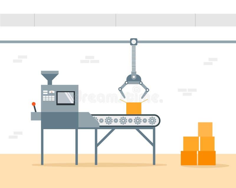 传动机机器在工厂-平的例证 制造和包装在工厂由传送带 生产概念 向量例证