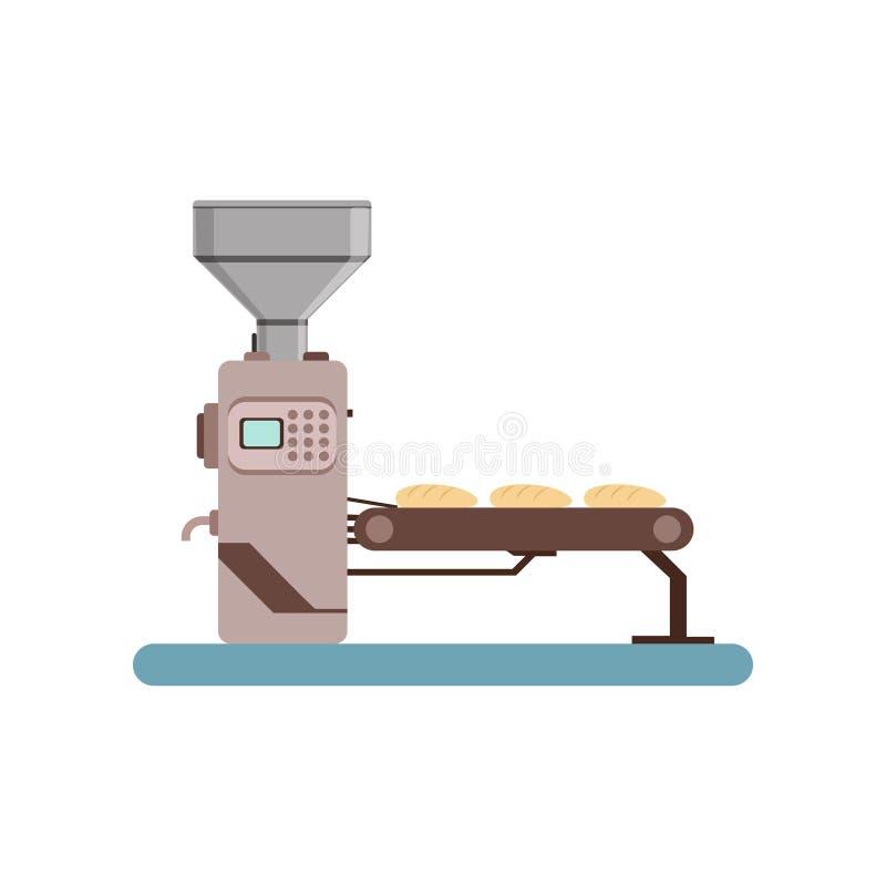 传动机线用面包,面包生产过程在白色背景的传染媒介例证阶段  向量例证