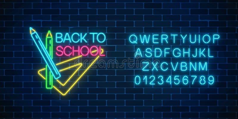 传单、飞行物与铅笔和统治者设计  与回到学校问候文本的霓虹横幅与字母表 向量例证