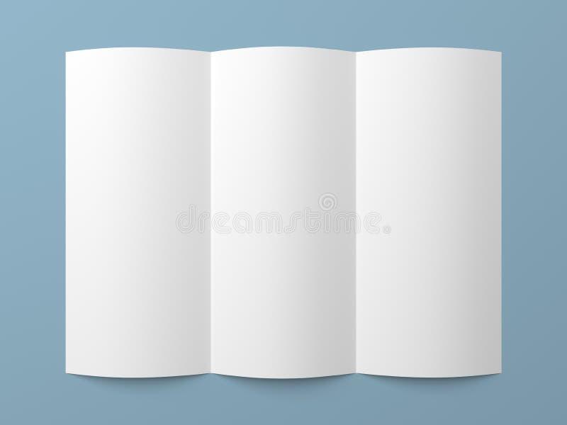 传单空白的三部合成的白皮书小册子 向量例证