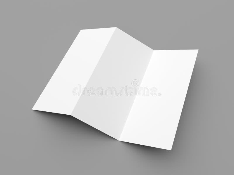 传单空白的之字形折叠白皮书小册子 免版税库存照片