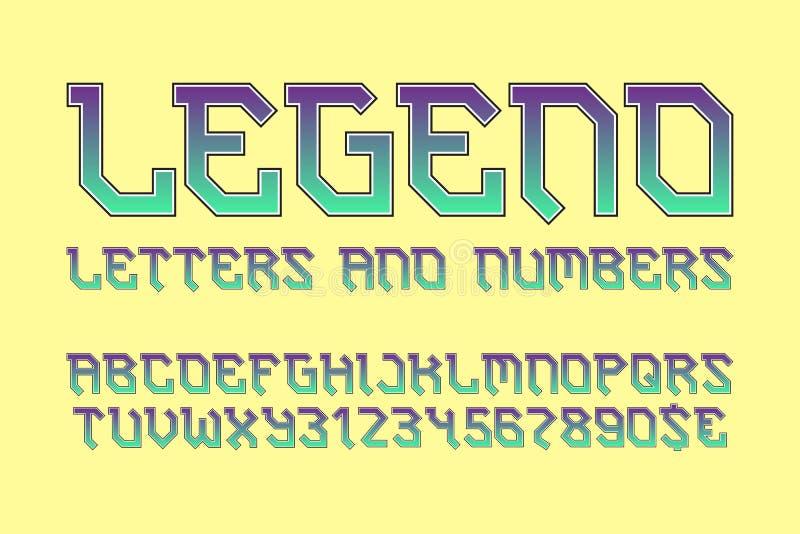 传奇信件和数字与货币符 时髦的骑自行车的人字体 库存例证