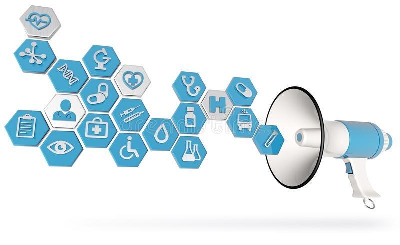 传播医疗保健和医学服务概念 向量例证