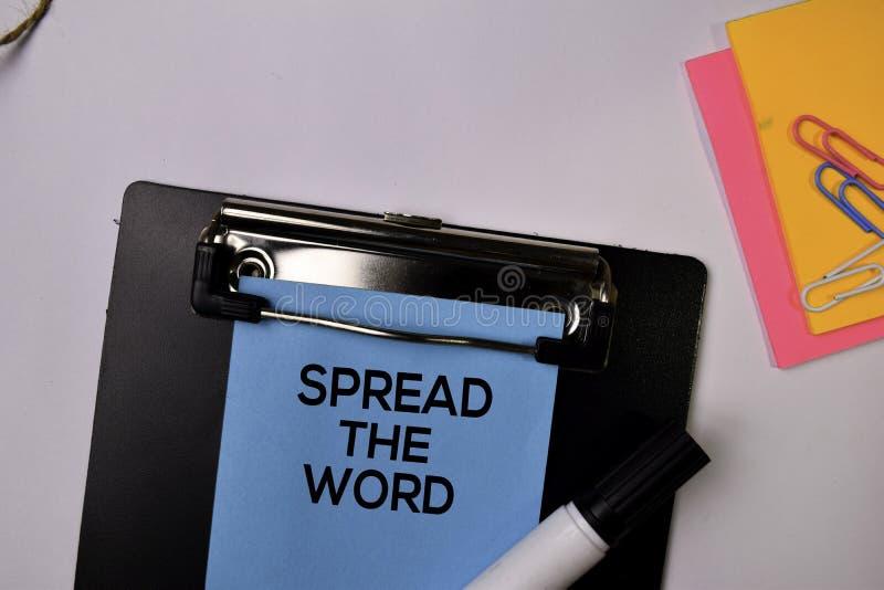 传播在白色背景隔绝的稠粘的笔记的词 免版税库存图片