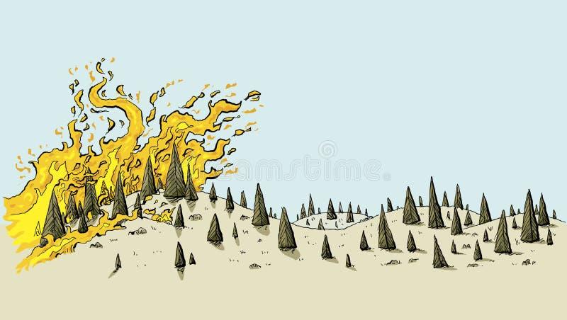 传播的干燥野火 向量例证