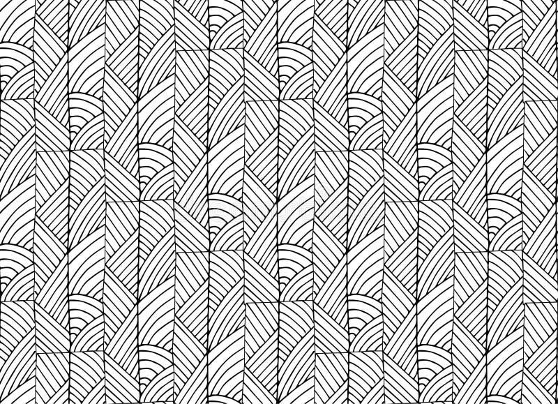 传染媒介一个无缝的黑样式的摘要例证以自然,线性和漩涡抽象的形式 皇族释放例证