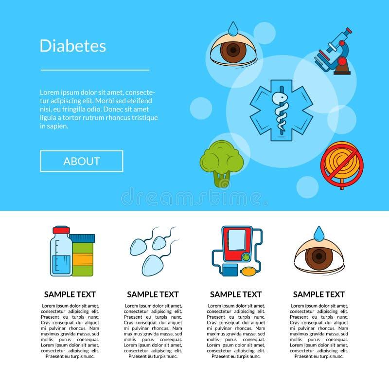 传染媒介上色了糖尿病象网横幅设计 皇族释放例证