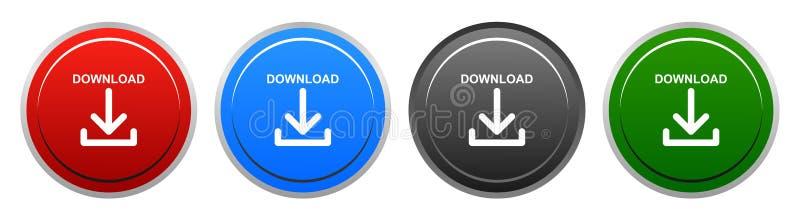 传染媒介下载圆的按钮四颜色象 皇族释放例证
