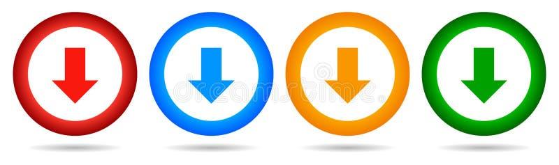 传染媒介下载圆的按钮 下来箭头象四颜色 库存例证