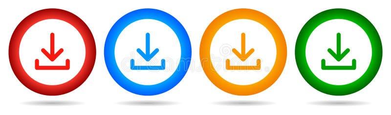 传染媒介下载圆的按钮 下来箭头象四颜色 皇族释放例证