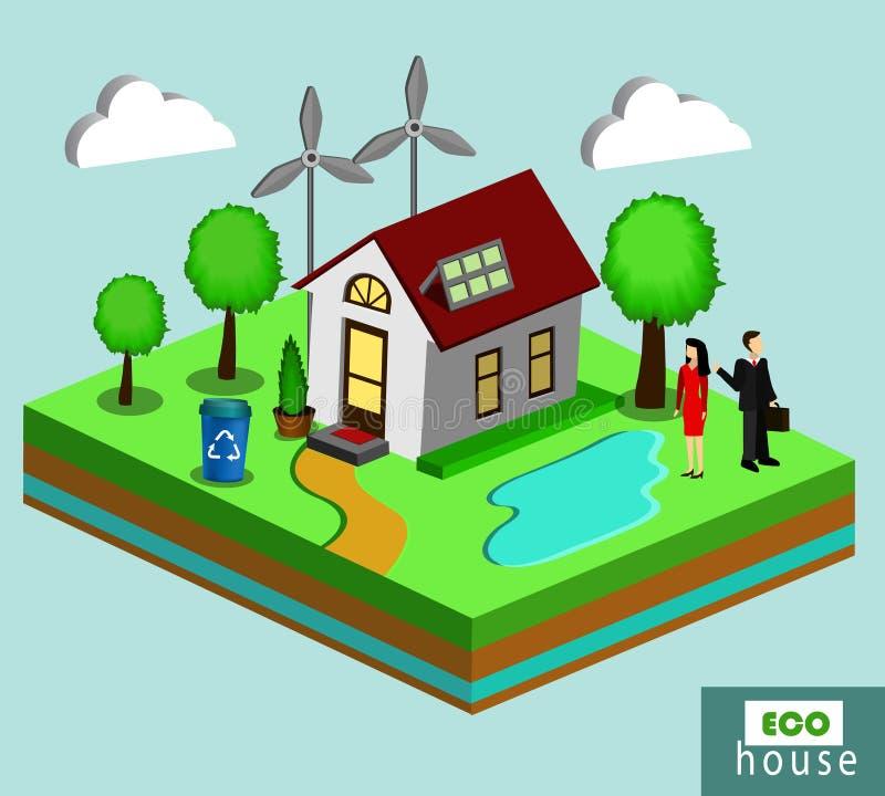 传染媒介不伤环境的房子的被隔绝的例证 向量例证
