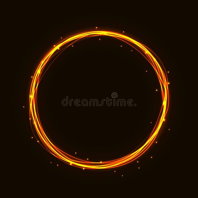 传染媒介不可思议的热的金圈子 发光的火圆环踪影 闪烁闪闪发光漩涡对黑暗的b的足迹作用 皇族释放例证