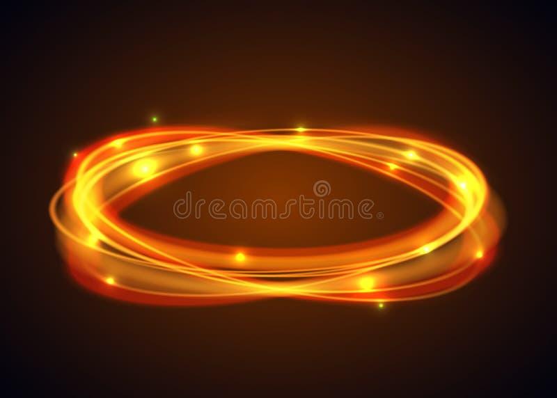 传染媒介不可思议的金圈子 在黑背景的发光的火圆环踪影 与飞行闪耀的一刹那光的椭圆线 库存例证
