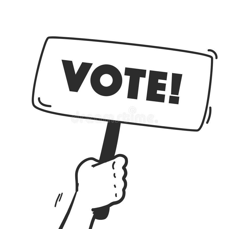 传染媒介与人的在白色背景隔绝的手举行投票的横幅箱子的表决例证 向量例证