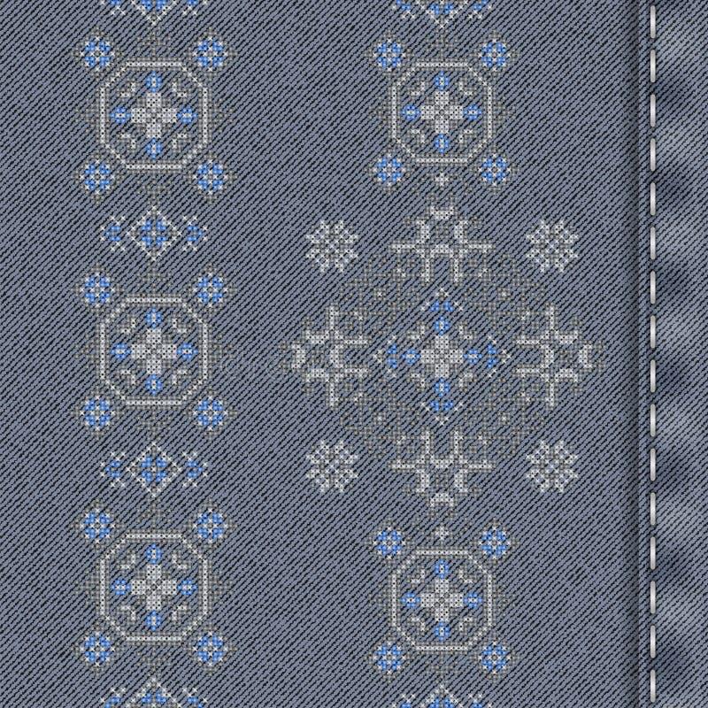 传染媒介与传统刺绣的牛仔布背景 库存例证