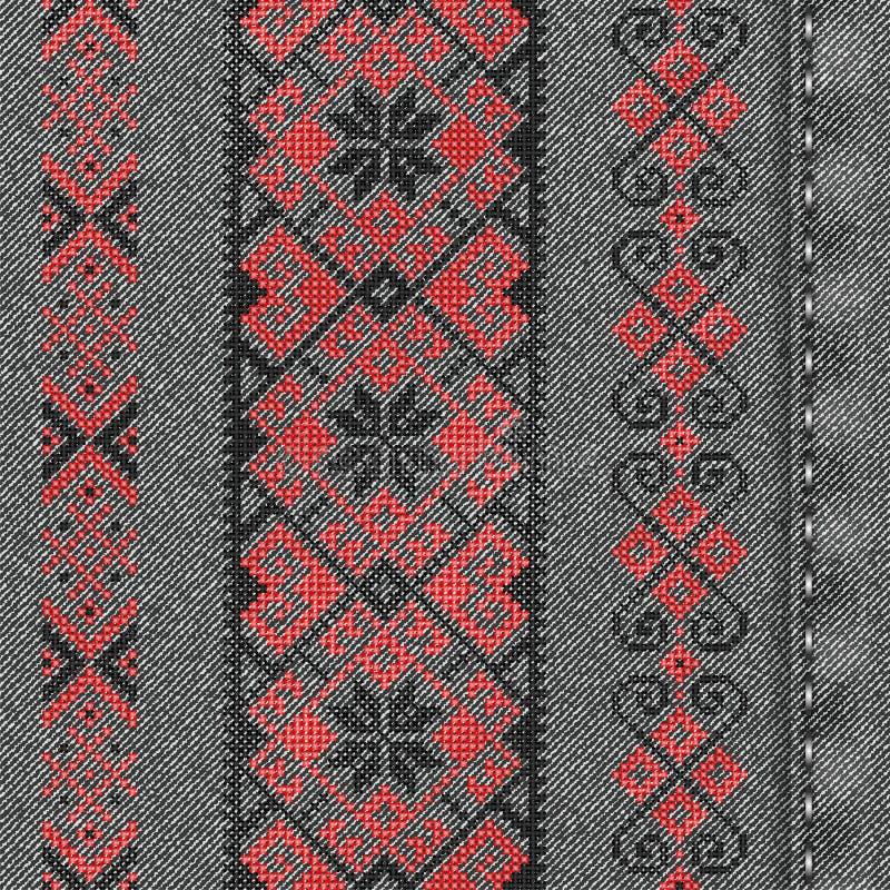 传染媒介与传统刺绣的牛仔布背景 皇族释放例证