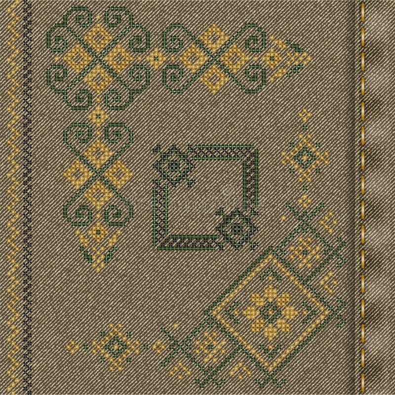传染媒介与传统刺绣的牛仔布背景 向量例证