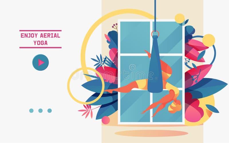 传染媒介与做在吊床或丝带丝绸的少女的概念横幅空中瑜伽画与生动的梯度 好例证 向量例证