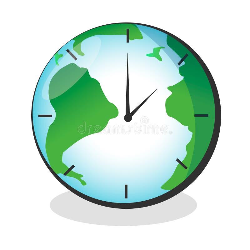 传染媒介与在白色背景隔绝的时钟表盘的地球地图 皇族释放例证