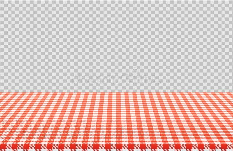 传染媒介与在透明背景隔绝的亚麻制桌布的红色方格的样式的野餐桌 库存例证